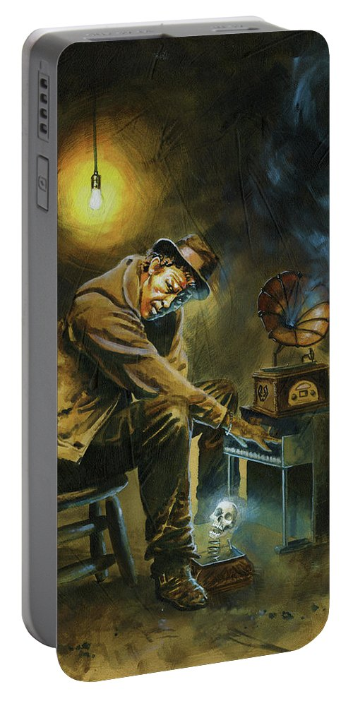 Tom Waits Portable Battery Charger featuring the painting Tom Waits by Ken Meyer jr