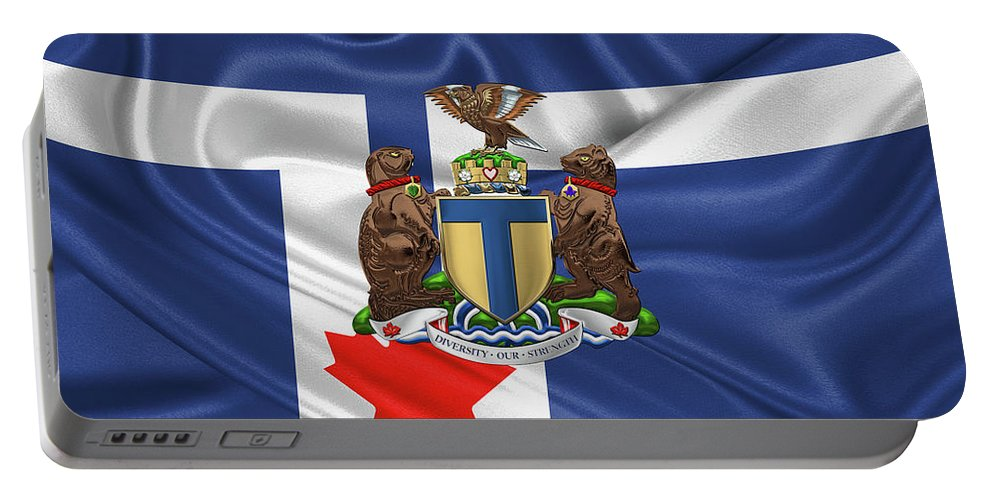 'cities Of The World' Collection By Serge Averbukh Portable Battery Charger featuring the photograph Toronto - Coat of Arms over City of Toronto Flag by Serge Averbukh
