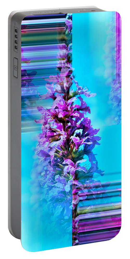 Flower Design Portable Battery Charger featuring the mixed media Tower Of Beauty by Kathleen Sartoris