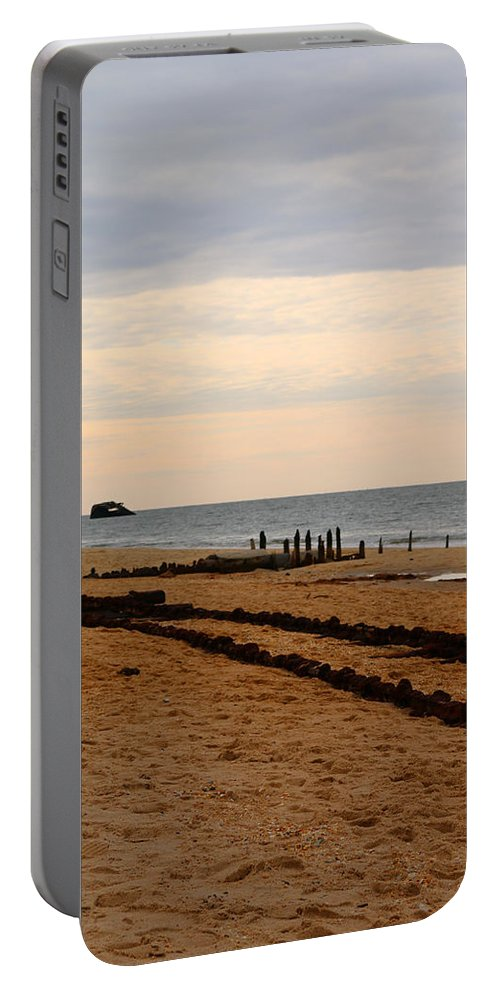 Cape May Portable Battery Charger featuring the photograph Tracks Along The Bay by Terrie Stickle
