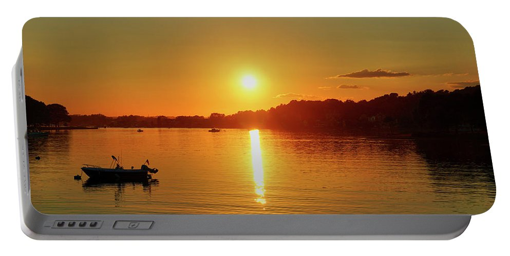 Sunset Portable Battery Charger featuring the digital art Tranquil Sunset by Lilia D