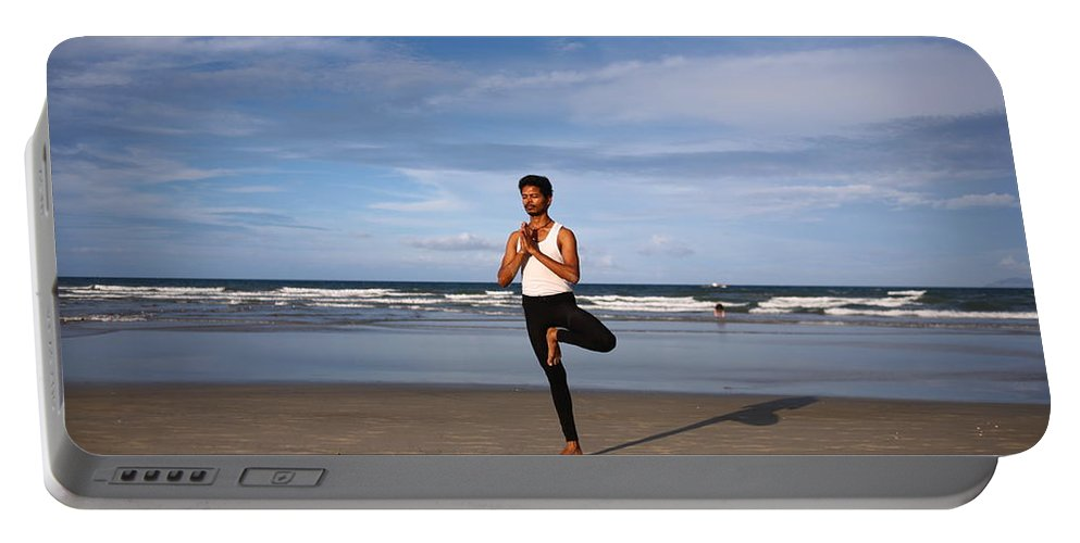 Yoga Portable Battery Charger featuring the photograph Tree Pose by Amit Namdev
