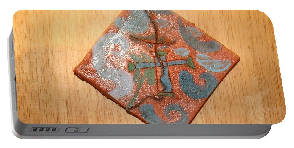 Jesus Portable Battery Charger featuring the ceramic art True Shepherd 16 - Tile by Gloria Ssali