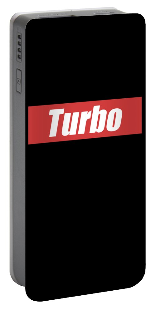 Mechanic Portable Battery Charger featuring the digital art Turbo Car Racing Apparel by Michael S