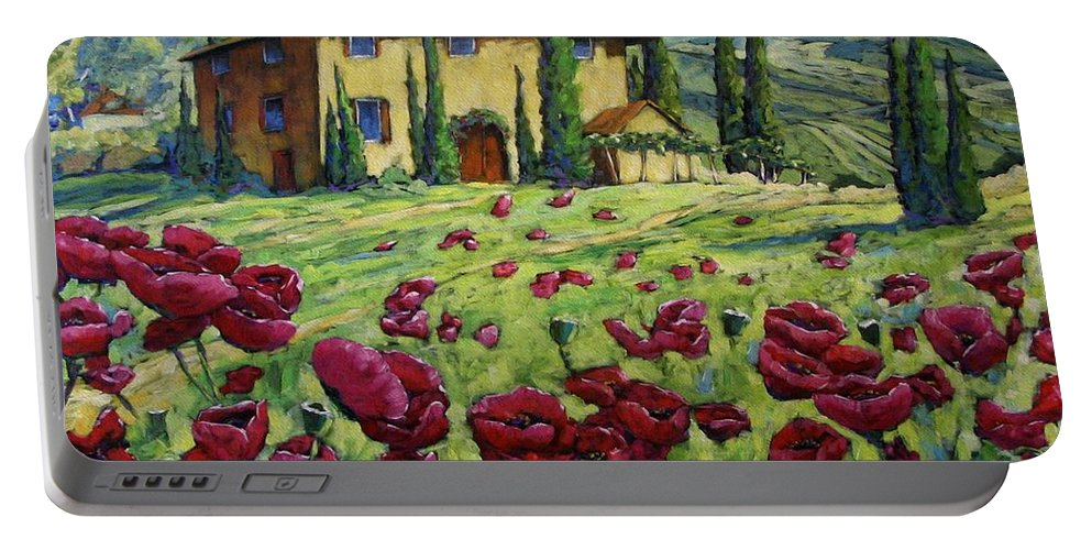 Art Portable Battery Charger featuring the painting Tuscan Poppies by Richard T Pranke