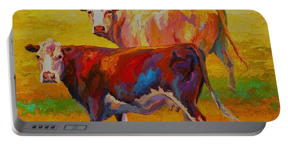 Cows Portable Battery Charger featuring the painting Two Cows by Marion Rose
