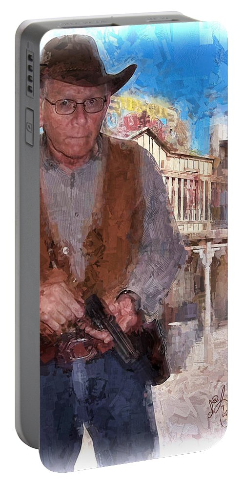 6 Gun Portable Battery Charger featuring the digital art Two Gun Earl by David Francey