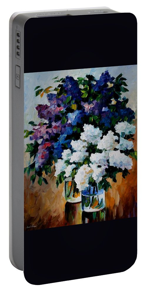 Afremov Portable Battery Charger featuring the painting Two Spring Colors by Leonid Afremov