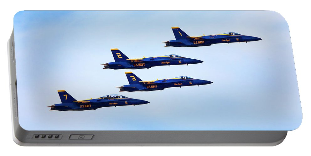 U S Navy Portable Battery Charger featuring the photograph U S Navy Blue Angeles, Formation Flying by Bruce Beck