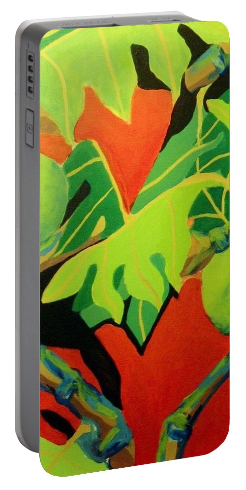 Modern Portable Battery Charger featuring the painting Ulu 2 by Jamie Laniakea Clark