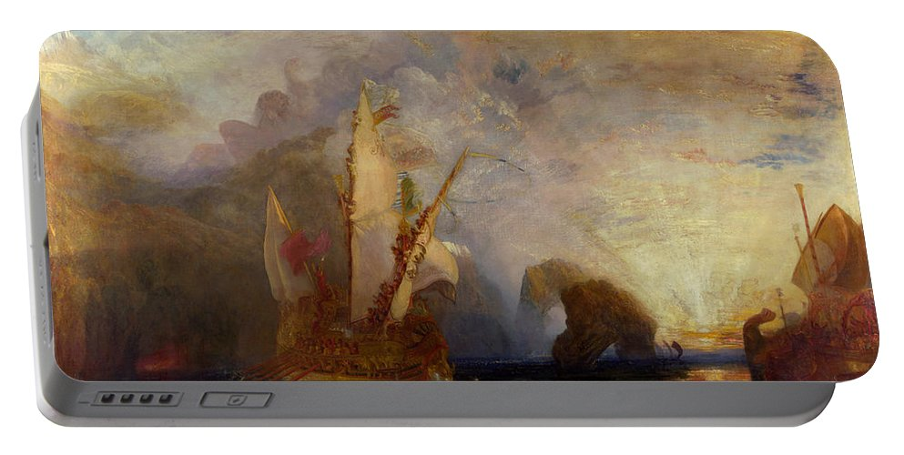 Boat Portable Battery Charger featuring the painting Ulysses Deriding Polyphemus by JMW Turner