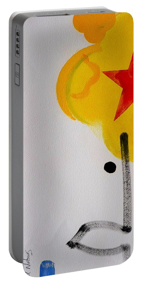 Drawing Portable Battery Charger featuring the painting UN by Charles Stuart