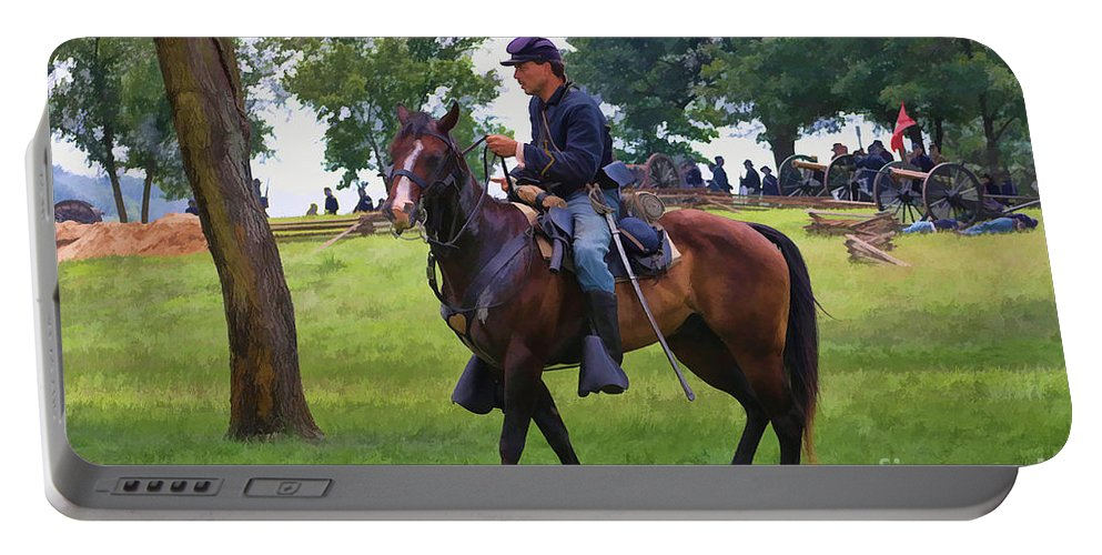 Union Portable Battery Charger featuring the digital art Union Cavalryman by Tommy Anderson