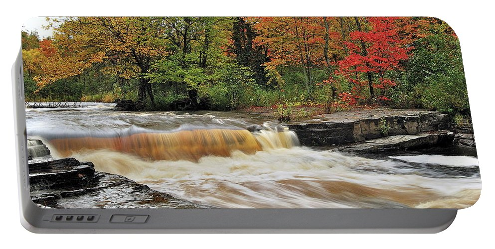 Michigan Portable Battery Charger featuring the photograph Unnamed Falls by Michael Peychich
