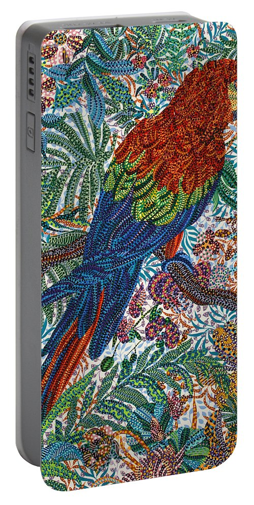 Unpaired Portable Battery Charger featuring the painting Unpaired by Erika Pochybova