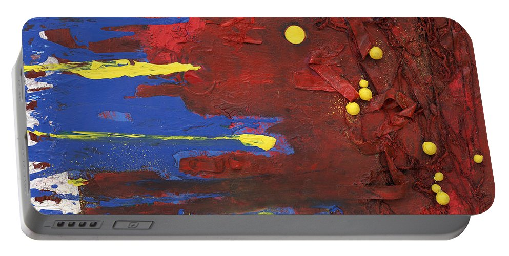 Red Portable Battery Charger featuring the mixed media Untitled by Jaime Becker