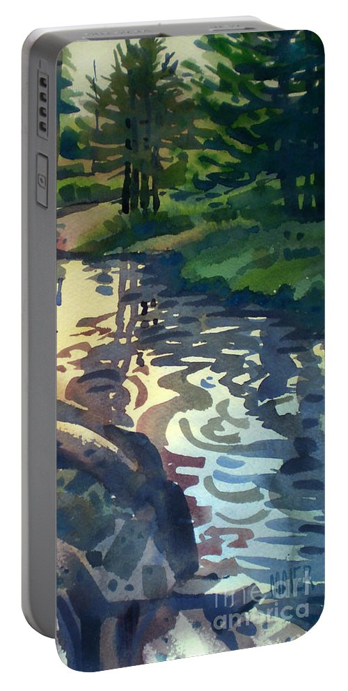 Stream Portable Battery Charger featuring the painting Up With The Fishes by Donald Maier