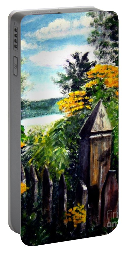 Upstate New York Portable Battery Charger featuring the painting Upstate Winery by Sandy Ryan