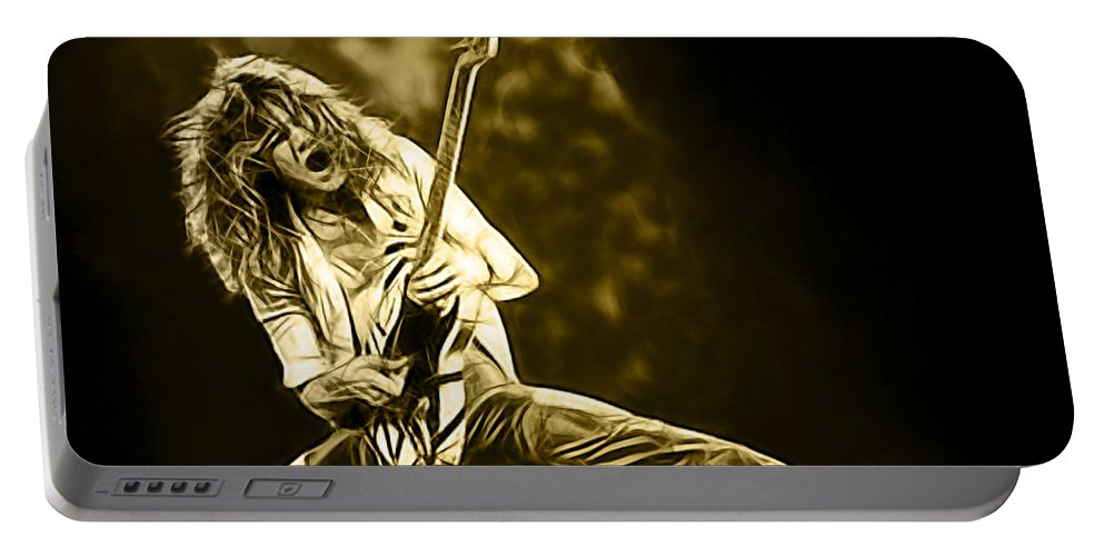 Eddie Van Halen Portable Battery Charger featuring the mixed media Van Halen Eddie Van Halen Collection by Marvin Blaine