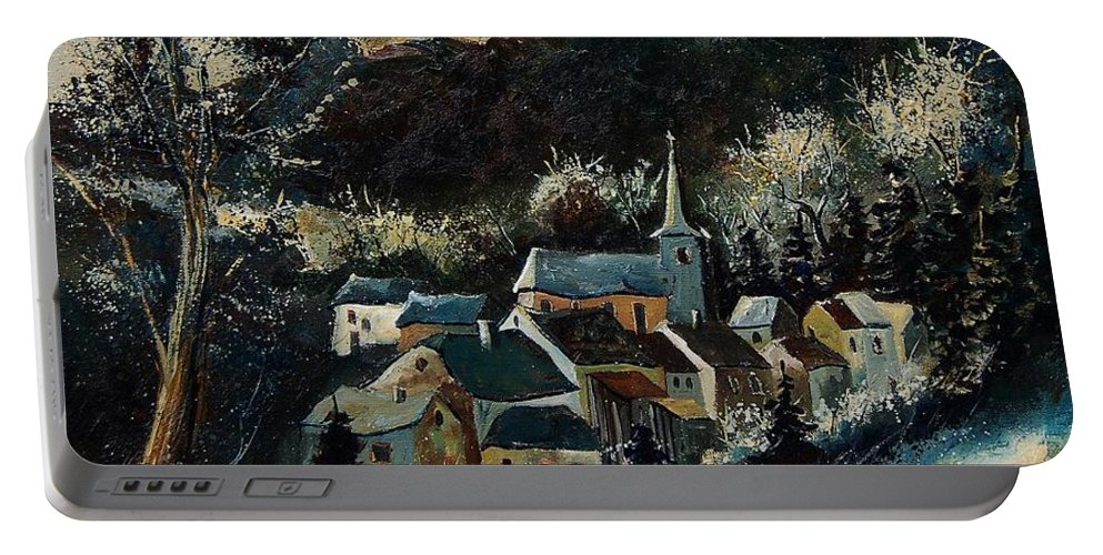Tree Portable Battery Charger featuring the painting Vencimont 78 by Pol Ledent