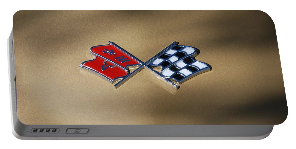 Corvette Portable Battery Charger featuring the photograph Vette Flags by Rob Hans