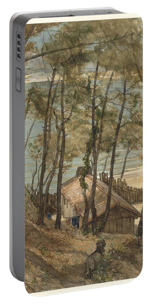 Nature Portable Battery Charger featuring the painting View From A Hill On A House On The Gulf Of Arcachon, August Allebe 1876 by Artistic Panda