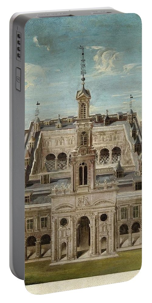 Italian School Portable Battery Charger featuring the painting View Of A Castle by MotionAge Designs