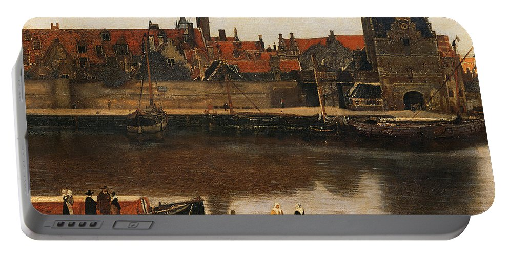 View Of Delft Portable Battery Charger featuring the painting View Of Delft by Jan Vermeer