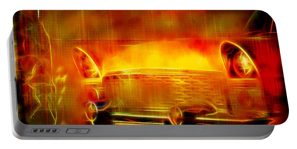 #vintage #car #oldcar #old Portable Battery Charger featuring the digital art Vintage Car 2 Neons Edition by Ruahan Van Staden