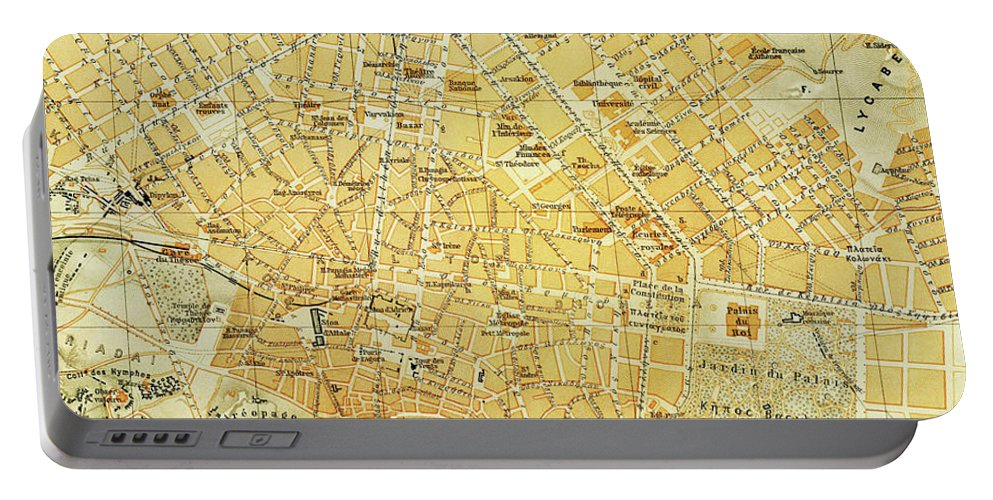 Athens Portable Battery Charger featuring the drawing Vintage Map Of Athens Greece - 1894 by CartographyAssociates