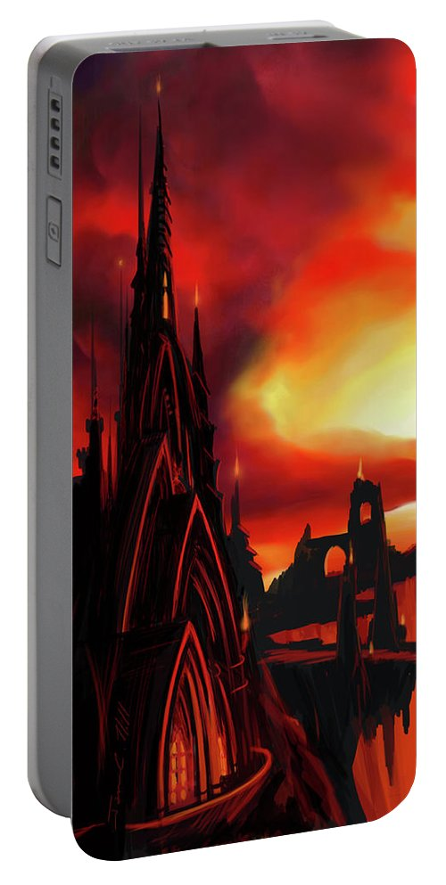Castle Portable Battery Charger featuring the painting Volcano Castle by James Christopher Hill