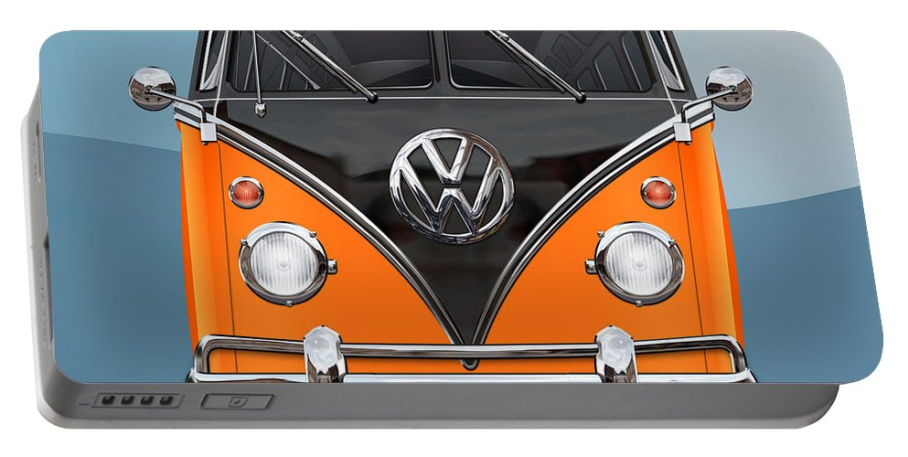 'volkswagen Type 2' Collection By Serge Averbukh Portable Battery Charger featuring the photograph Volkswagen Type 2 - Black and Orange Volkswagen T 1 Samba Bus over Blue by Serge Averbukh