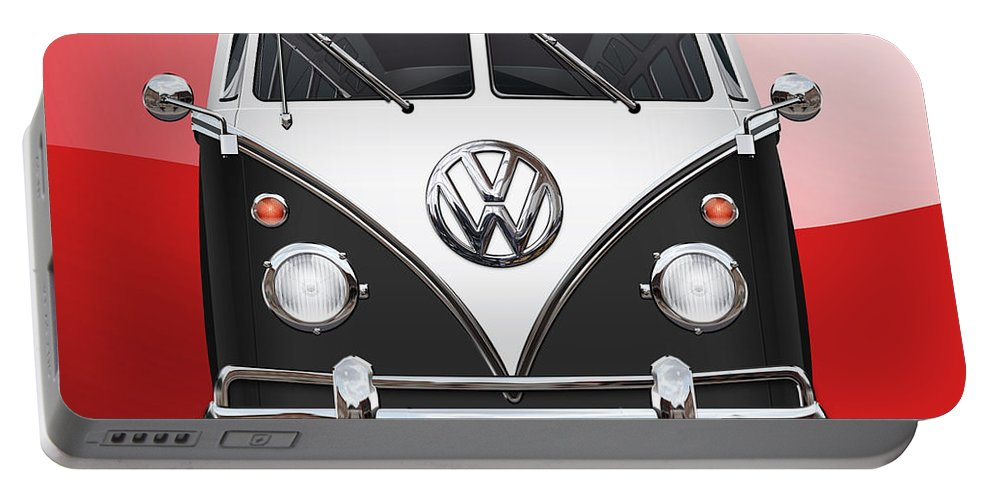 'volkswagen Type 2' Collection By Serge Averbukh Portable Battery Charger featuring the photograph Volkswagen Type 2 - Black and White Volkswagen T 1 Samba Bus on Red by Serge Averbukh