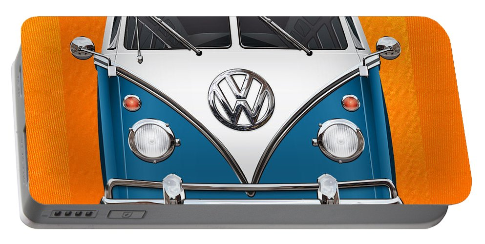 'volkswagen Type 2' Collection By Serge Averbukh Portable Battery Charger featuring the photograph Volkswagen Type 2 - Blue And White Volkswagen T 1 Samba Bus Over Orange Canvas by Serge Averbukh