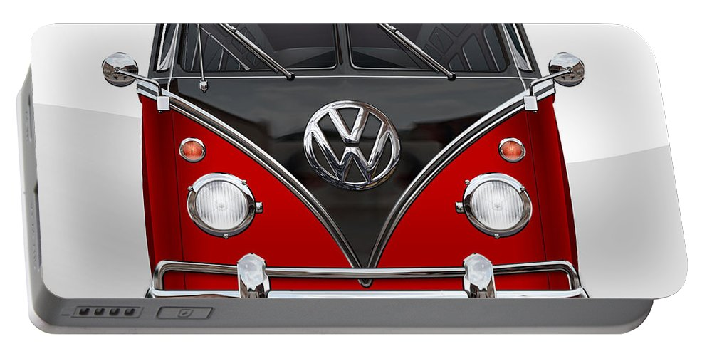 'volkswagen Type 2' Collection By Serge Averbukh Portable Battery Charger featuring the photograph Volkswagen Type 2 - Red and Black Volkswagen T 1 Samba Bus on White by Serge Averbukh