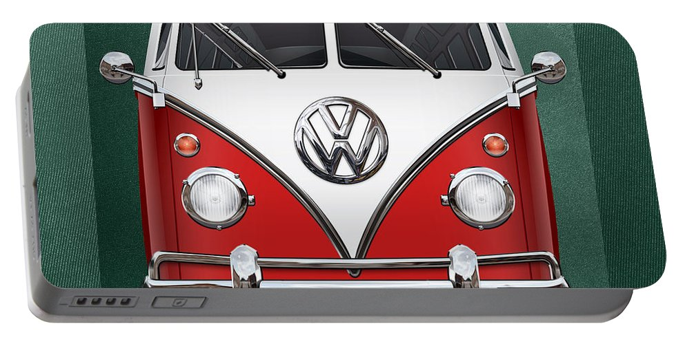 'volkswagen Type 2' Collection By Serge Averbukh Portable Battery Charger featuring the photograph Volkswagen Type 2 - Red And White Volkswagen T 1 Samba Bus Over Green Canvas by Serge Averbukh