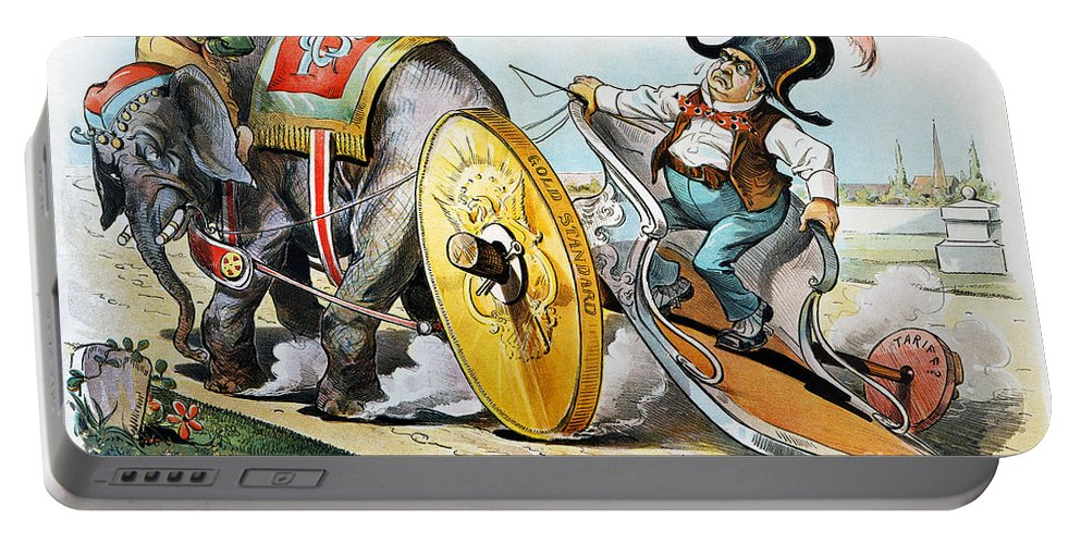 1896 Portable Battery Charger featuring the photograph W. Mckinley Cartoon, 1896 by Granger