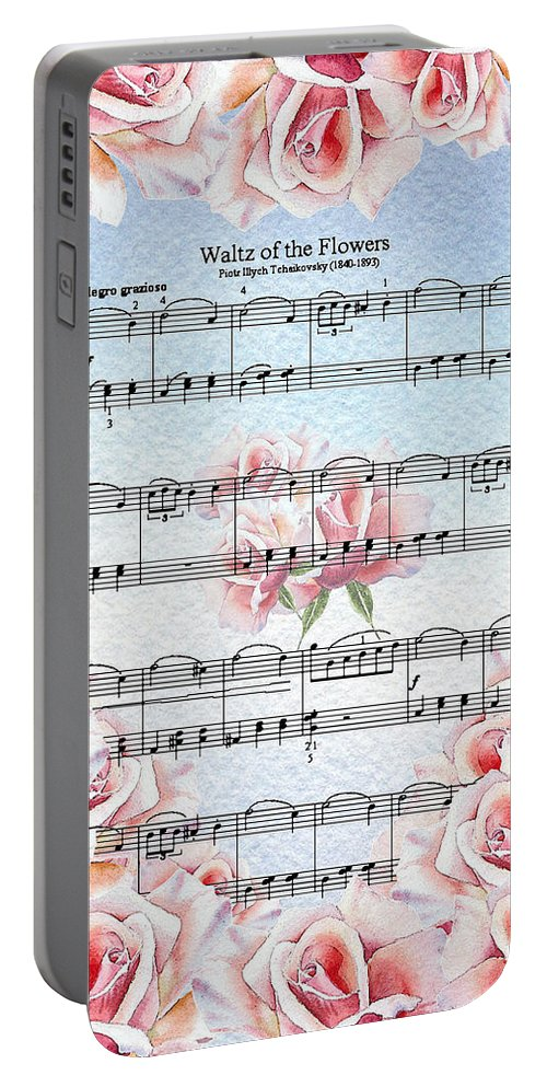 Waltz Portable Battery Charger featuring the painting Waltz Of The Flowers Pink Roses by Irina Sztukowski