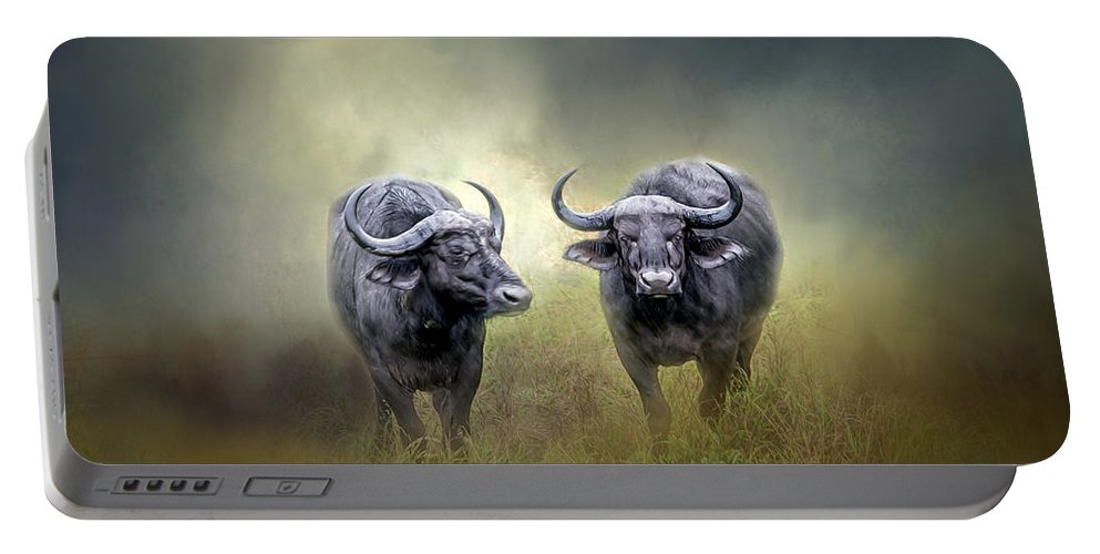 Animal Portable Battery Charger featuring the photograph Water Buffalo by Maria Coulson