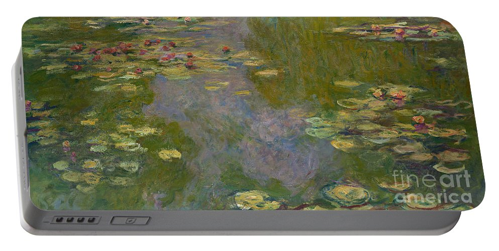 Monet Portable Battery Charger featuring the painting Water Lilies, 1919 by Claude Monet