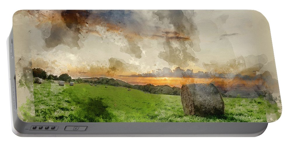 Landscape Portable Battery Charger featuring the photograph Watercolor Painting Of Beautiful Summer Vibrant Sunset Over Coun by Matthew Gibson