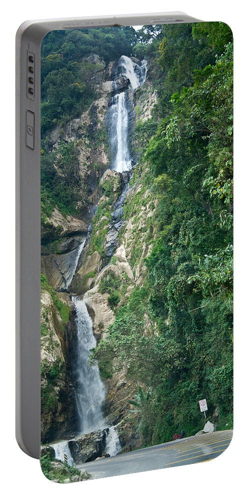Waterfall Portable Battery Charger featuring the photograph Waterfall Highlands Of Guatemala 1 by Douglas Barnett