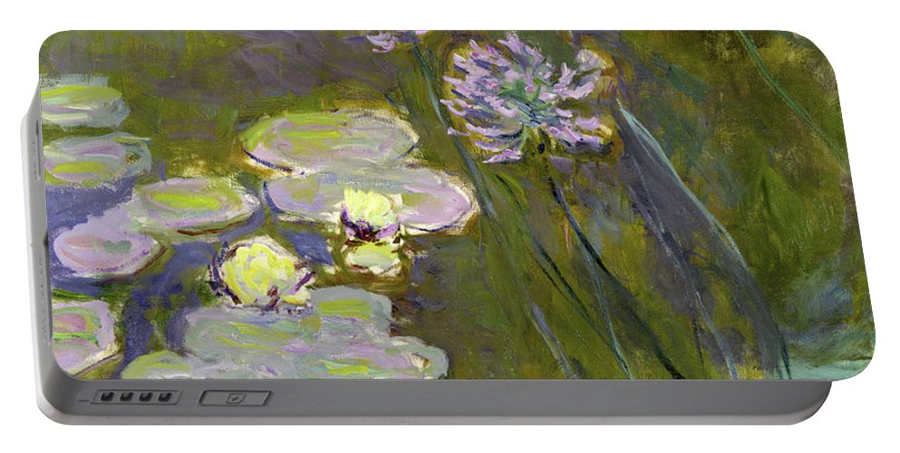 Waterlilies And Agapanthus Portable Battery Charger featuring the painting Waterlilies And Agapanthus by Claude Monet