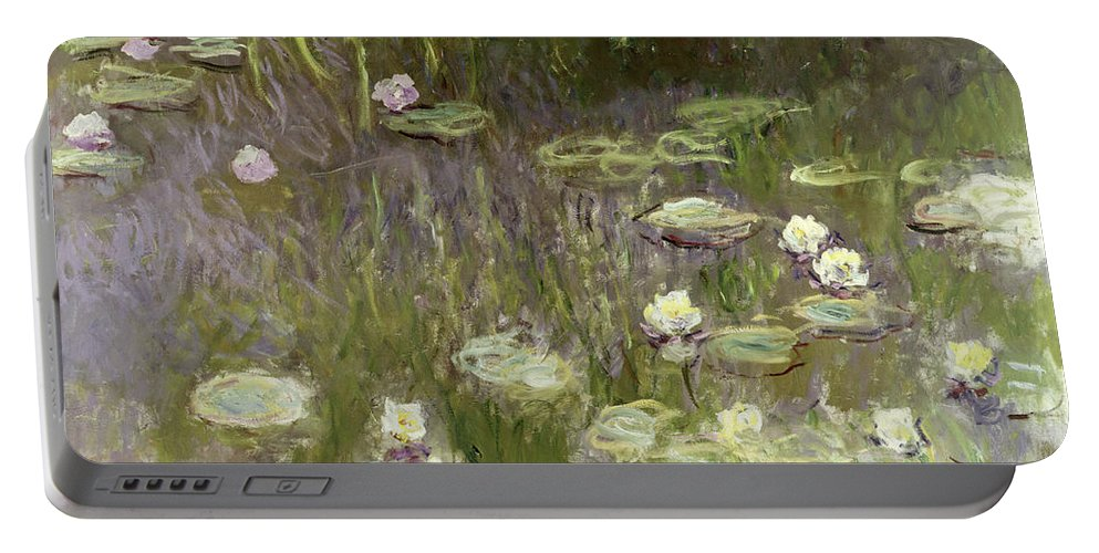 Waterlilies Portable Battery Charger featuring the painting Waterlilies At Midday by Claude Monet