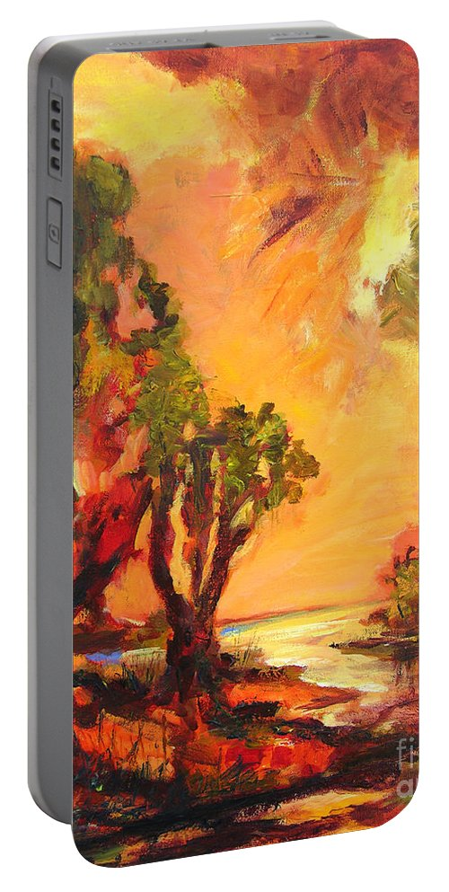Framed Landscape Prints Portable Battery Charger featuring the painting Waterway by Julianne Felton