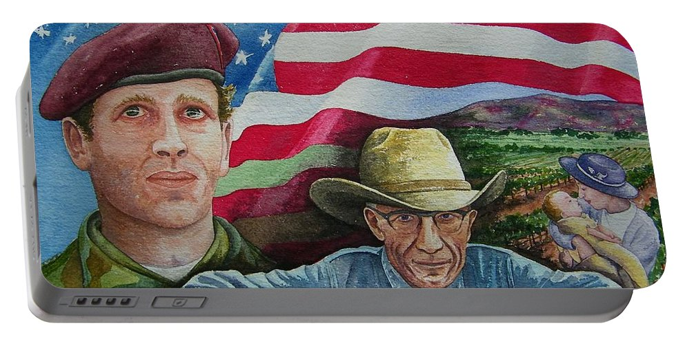 Soldier Portable Battery Charger featuring the painting We Hold These Truths by Gale Cochran-Smith