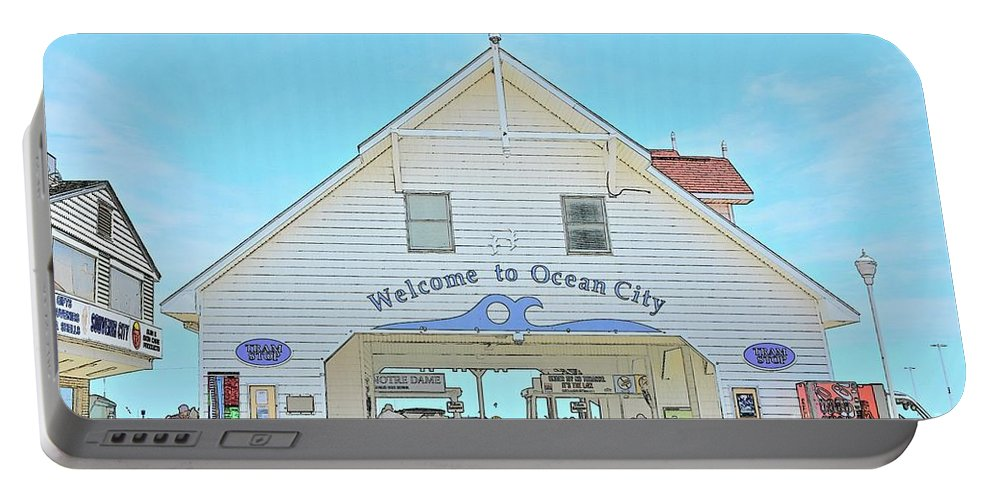 Ocean City Maryland Portable Battery Charger featuring the digital art Welcome To Ocean City by Jeramey Lende