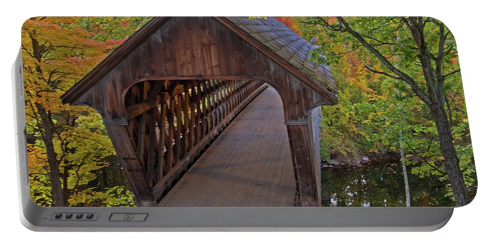 new England Covered Bridges Portable Battery Charger featuring the photograph Welcoming Autumn by Paul Mangold