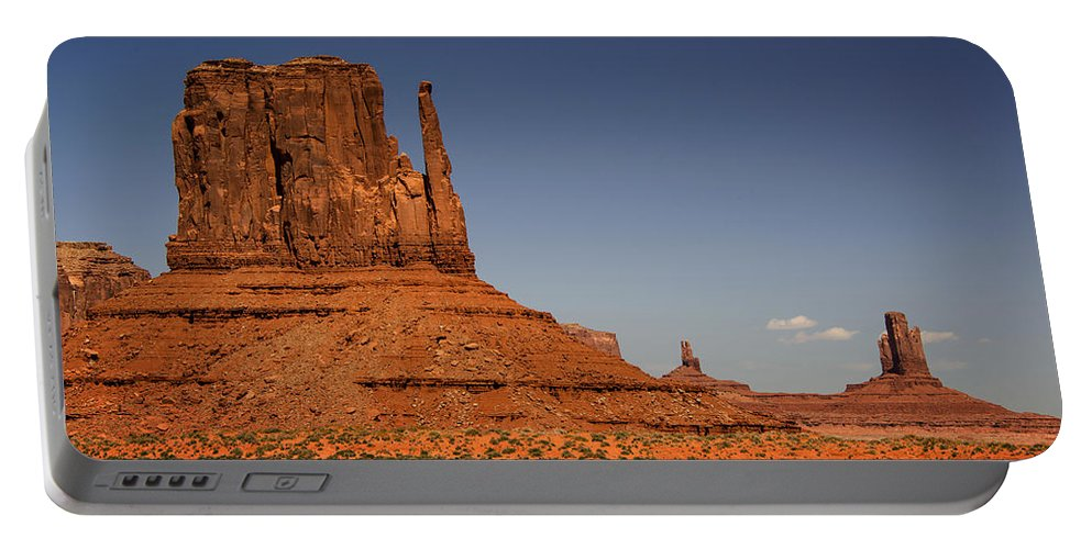 West Mitten Butte Portable Battery Charger featuring the photograph West Mitten Butte by Yefim Bam