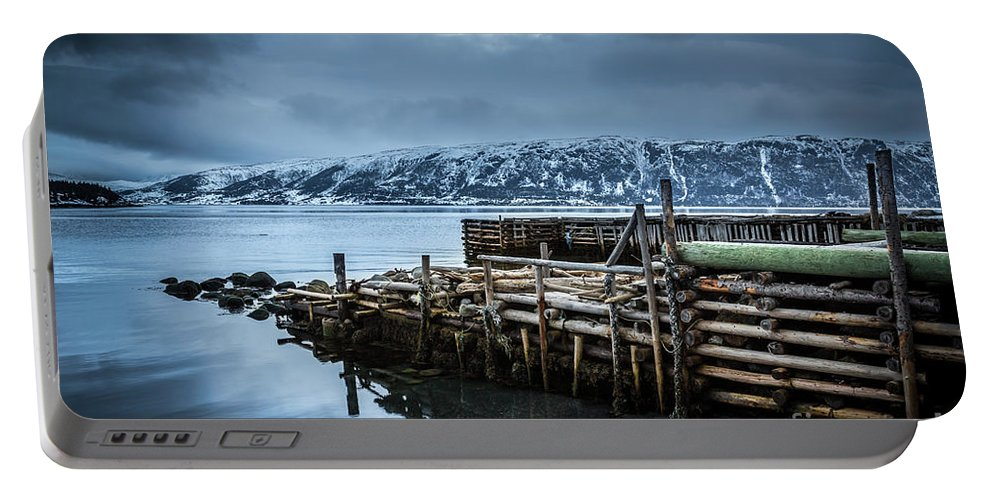Boathouse Portable Battery Charger featuring the photograph Wharf In Norris Point, Newfoundland by Mike Organ